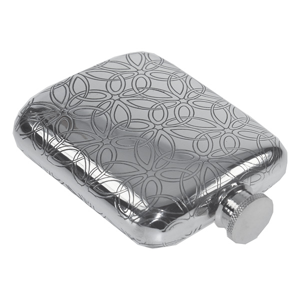 Triquetra Flower Patterned Hip Flask With FREE ENGRAVING & Gift Box