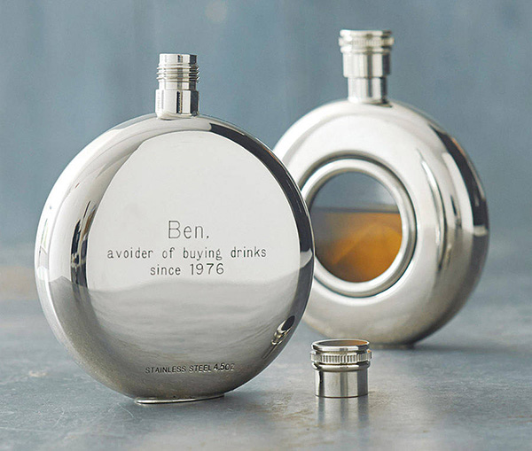 Round Window Engraved Hip Flask with Presentation Box, & FREE ENGRAVING