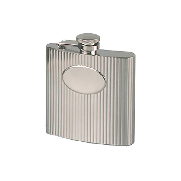 6oz Ribbed Engraved Hip Flask with Free Engraving and Presentation Box