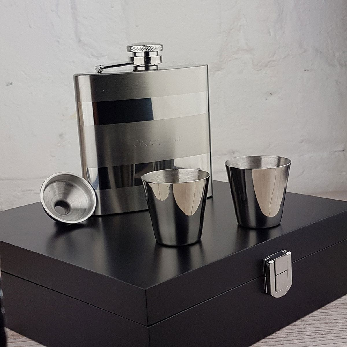Contrasting Hip Flask in Gift Box with FREE Engraving, Funnel & Two Nip Cups