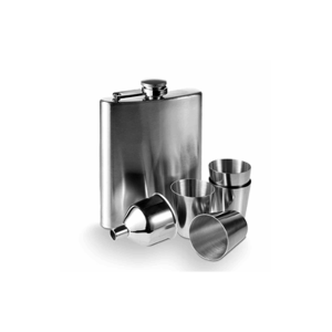 Engraved Hip Flask with Funnel, four Cups, FREE Engraving & Presentation Box