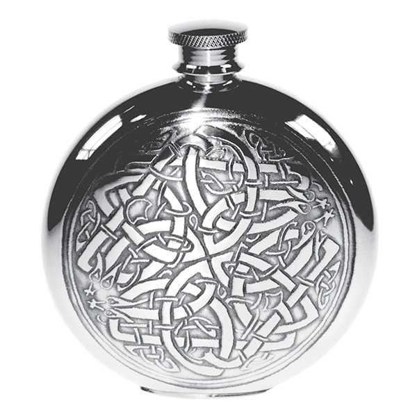 Round Celtic Knot Hip Flask with FREE ENGRAVING & Gift Box