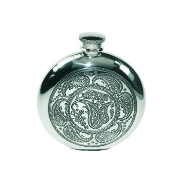 6oz Paisley Round Hip Flask