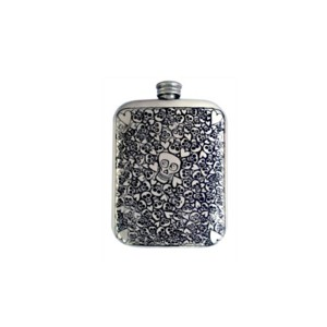 Skull & Hearts Engraved Hip Flask with FREE ENGRAVING and Gift Box