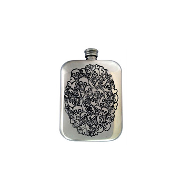 Skulls Engraved Hip Flask with FREE ENGRAVING and Gift Box