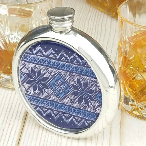 Fair Isle Christmas Hip Flask with Presentation Box and Free Engraving