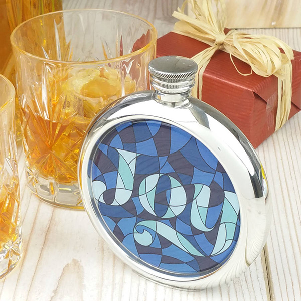 Stained Glass Joy Picture Hip Flask with Presentation Box and Free Engraving