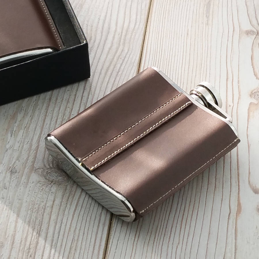 Leather Standing Seam Hip Flask - SaRfl60