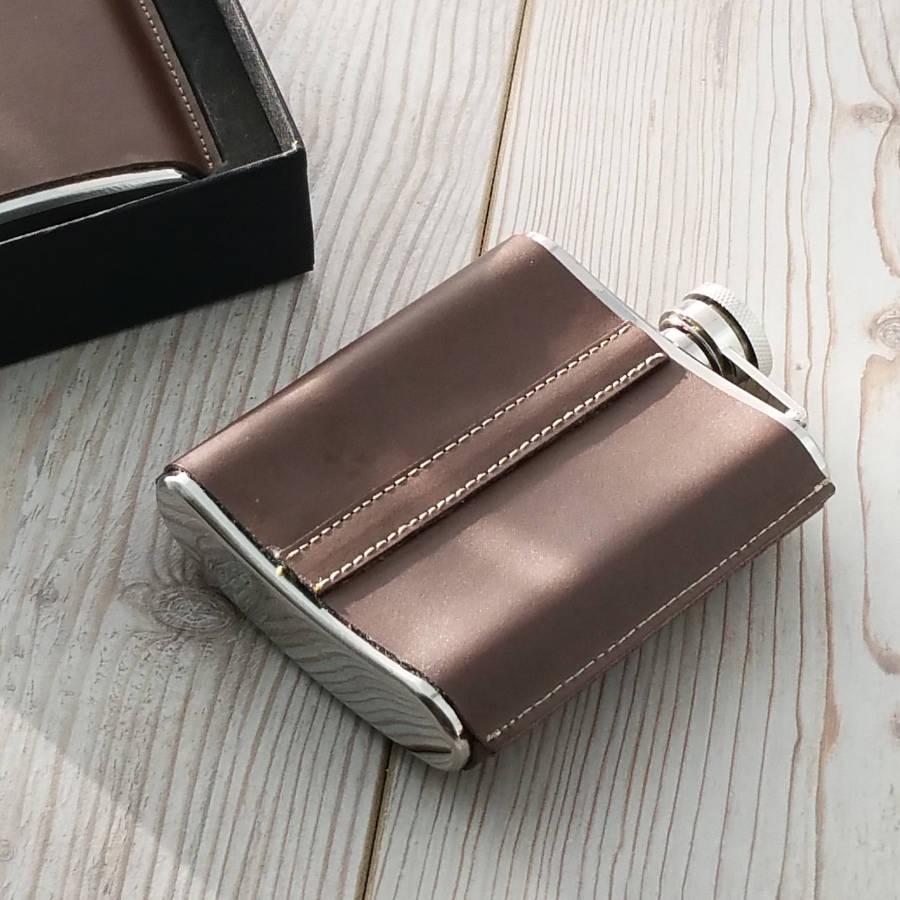 Leather Standing Seam Hip Flask - SaRfl60