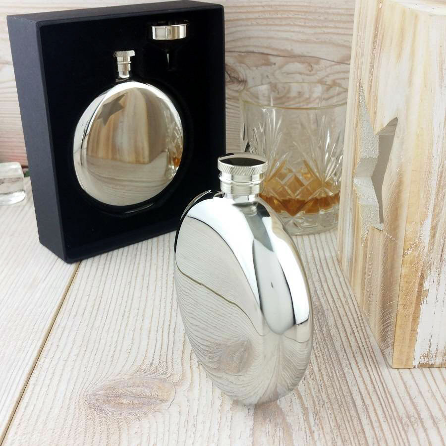 Ultimate Personalised Round Hip Flask With Free Engraving
