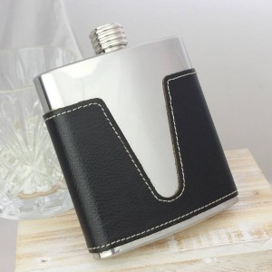 Detailed Leather Personalised Hip Flask - SAFL61_01