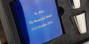 Personalised Blue Wedding Hip Flask with FREE ENGRAVING