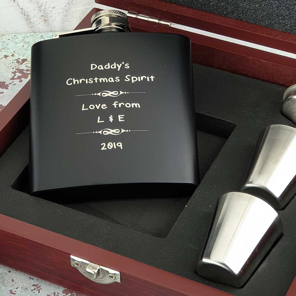 Personalised Christmas Hip Flask Set With Engraved Cups